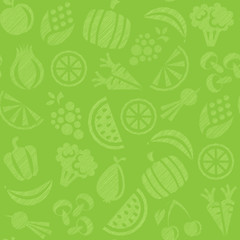 seamless background with fruits and vegetables
