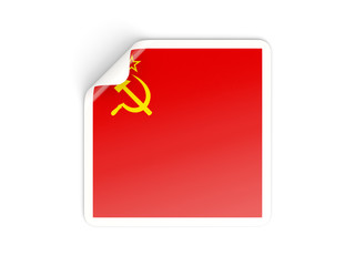 Square sticker with flag of ussr