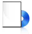 DVD case with a blank cover and shiny blue DVD disk, Vector - 81868642