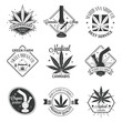 Set of medical marijuana logos. Cannabis badges, labels and