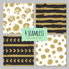 Set of 4 hand drawn seamless trendy patterns with ink brush