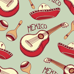 Mexican seamless pattern with sombrero, guitar, maracas