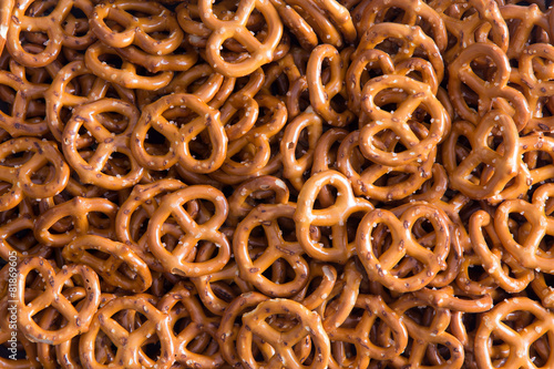 Fotobehang Bakkerij Background texture of mini pretzels