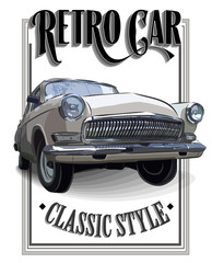 Retro car or Vintage on a white background. Poster