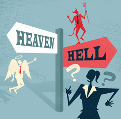 Abstract Businesswoman at Heaven and Hell Signpost.