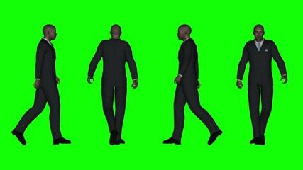 Walking Business Man (Green Screen)