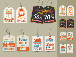 Summer Sale tags or labels collection.