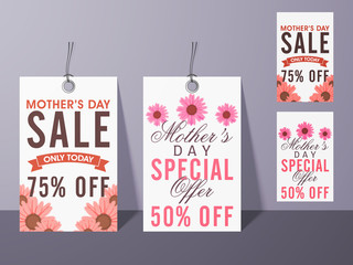 Sale tags for Happy Mother's Day celebration.