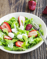Salad with Strawberry, Green Lettuce and Cheese