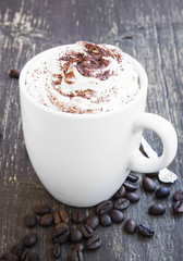 Cappuccino Cup with Creamy Froth and Cocoa Powder
