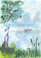 aquarelle drawing of a fisherman in the boat
