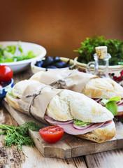 Ciabatta Sandwiches with Mortadella Ham, Lettuce and Radish Slic