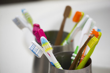 colourful tootbrushes in family bathroom
