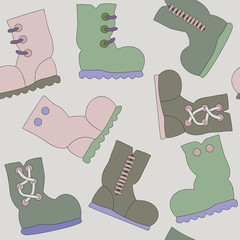 Vector Seamless Texture with Gumboots Pattern