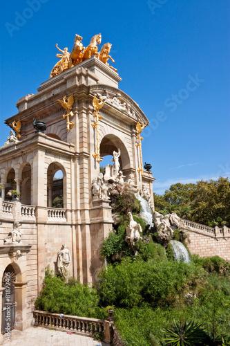 Leinwanddruck Bild Fountain at Parc de la Ciutadella, Barcelona.