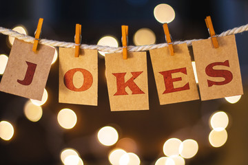 Jokes Concept Clipped Cards and Lights