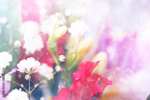 Deurstickers Lilac spring floral background with small blooming white flowers
