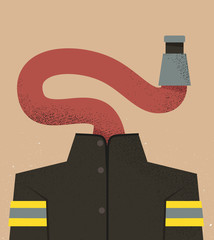 Firefighter with fire hose head