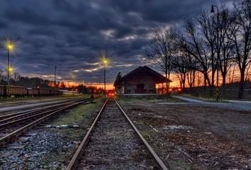 Night railway station