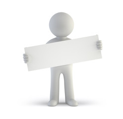 3d small people - blank white board