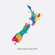 New Zealand Map Color regions flat design illustration vector - 81874863