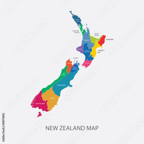 Nowa Zelandia mapy kolorów regionów projekta wektoru płaska ilustracja