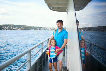 Father and kid during Bosphorus cruise