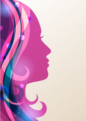 Beautiful girl silhouette with colorful hair, vector background.