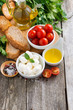 delicious mozzarella and ingredients for the salad