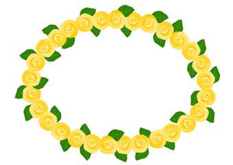 バラ 黄色 楕円 フレーム イラスト
