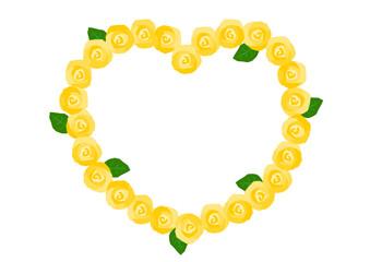 バラ 黄色 ハート フレーム イラスト