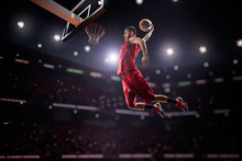 "Постер, картина, фотообои ""red Basketball player in action"""