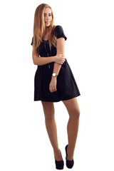 portrait of a beautiful girl in a little black dress isolated on