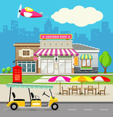 Souvenir shop design background
