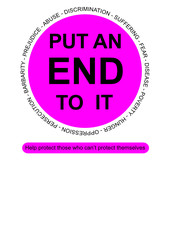 Put an end to it sign vector for poverty and barbarity