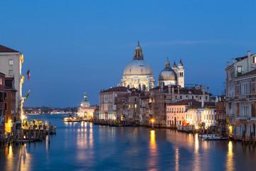 Grand Canal and Basilica Santa Maria della Salute at night in Ve