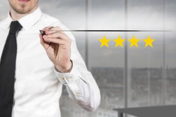 businessman pushing flat button four golden rating stars