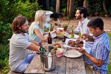 friends enjoying garden party