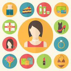 Set of flat design beauty concept icons. Woman needs, shopping