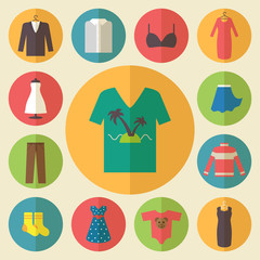 Clothing vector icons set