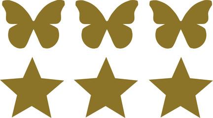 Three Butterflies with three stars