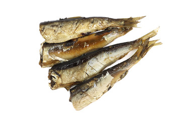 natural sprats in vegetable oil on a white background