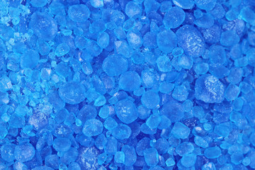 salt crystals blue abstract background