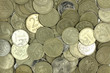 a handful of coins Russian rubles abstract background