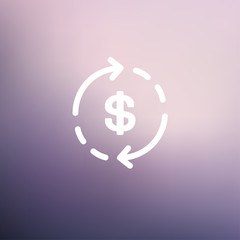 Money dollar symbol with arrow thin line icon