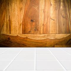 modern beige mosaic with the wall made of sheesham wood