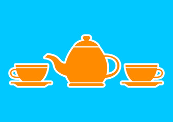 Orange teapot and teacup on blue background