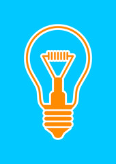 Orange light bulb icon on blue background