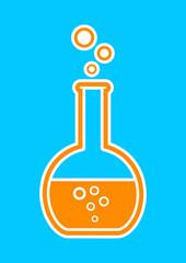 Orange laboratory glass icon on blue background