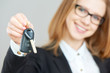 business happy woman holding car keys